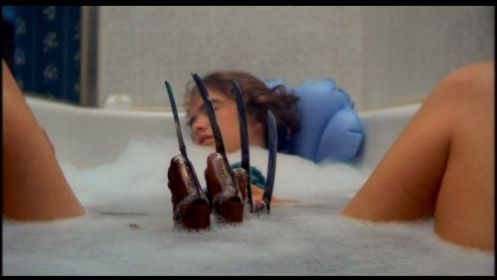 Heather Langerkamp as Nancy illustrating four reasons you NEVER fall asleep in the tub.