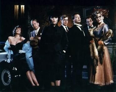 Was it?...-in the?...-with the? (R to L) Leslie Anne Warren, Martin Mull, Madeline Kahn, Michael McKean, Tim Curry, Christopher Lloyd and Eileen Brennan.