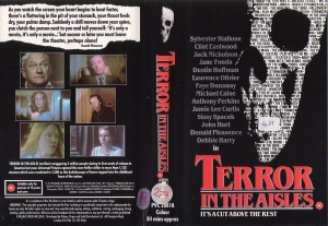 "Original box art for ""Terror in the Aisles"" VHS release."