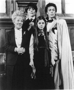 (L-R) Mrs. Garrett, Emma Peel, Fairuza Balk and Tim Curry